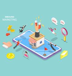 Digital inbound marketing strategy isometric flat vector