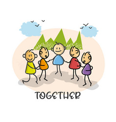 doodle cartoon figure people meet together vector image