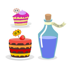 Eat me cake Drink Me potion Set meal for Alice in vector