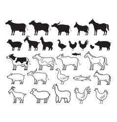 farm animals silhouette and line set vector image