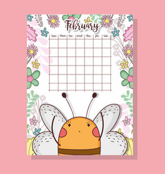 February calendar with cute bee animal vector
