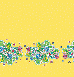 Folk art floral retro border vector