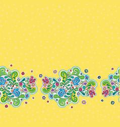 Folk art floral retro border vector