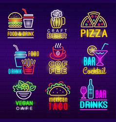 food neon icon beer drinks light advertising vector image