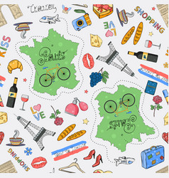 france tour pattern color with map vector image