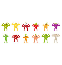 Fruits and vegetables with arms and legs flat vector