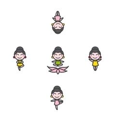 Funny cartoon girl mascot in five yoga vector