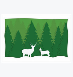 greeting card green spruce and deer vector image