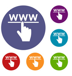hand cursor and website icons set vector image