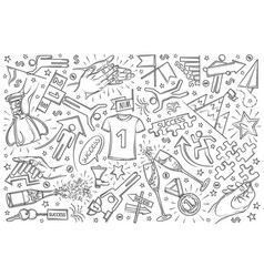 hand drawn success set doodle background vector image