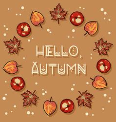 Hello autumn decorative wreath cute cozy banner vector
