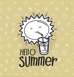 hello summer cute sun on pattern with beach stuff vector image