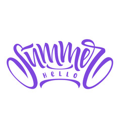 hello summer hand drawn vector image