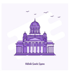 Helsinki senate square landmark purple dotted vector