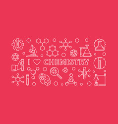 i love chemistry banner chemical line vector image