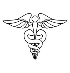 isolated caduceus emblem vector image