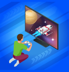 Isometric young man plays video game on tv using vector