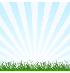 Landscape background with grass and sky vector image