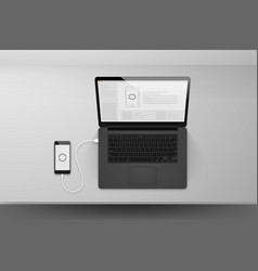 Laptop or notebook black design mock up sync data vector