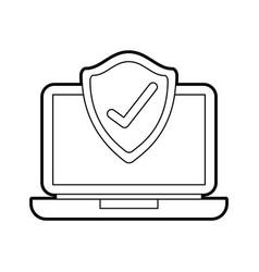 laptop shield protection checkmark screen digital vector image