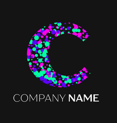 Letter c logo with pink purple green particles vector