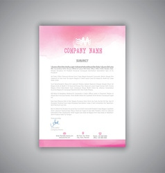 Letterhead with watercolour design vector