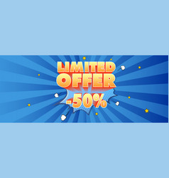 Limited offer advertising banner volumetric text vector