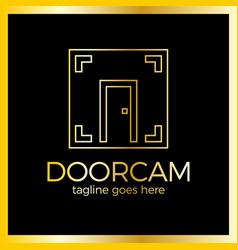 line door photo logo open photo studio vector image