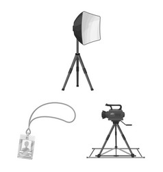 making a movie monochrome icons in set collection vector image