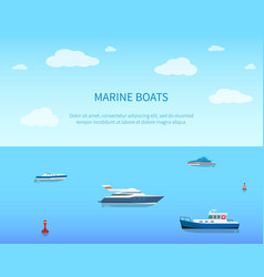 marine boats bright color card vector image
