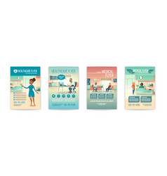 medical flyers set health care service posters vector image