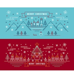 Merry christmas outline linear city winter banner vector