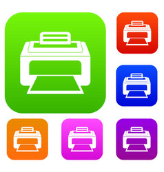 Modern laser printer set collection vector
