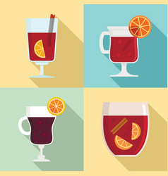 Mulled wine icon set flat style vector