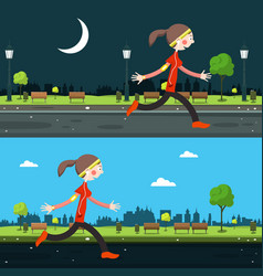 night and day run in city running woman vector image