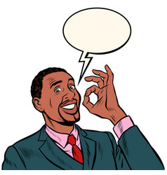 Ok african man businessman hand gesture okay vector