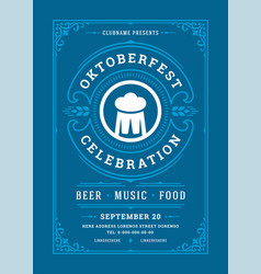 oktoberfest flyer or poster retro typography vector image