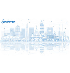 outline samara russia city skyline with blue vector image