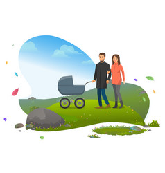 People with pram family stroll in park nature vector