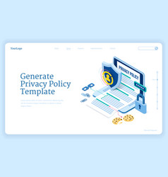Privacy policy isometric landing data protection vector