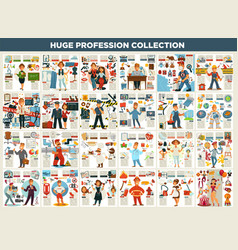 Profession collection work and job career and vector