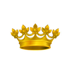 Realistic icon of shiny crown with golden gradient vector