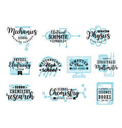 Research science subjects lettering icons vector