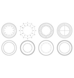 round measuring circles 360 degrees scale circle vector image