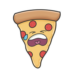 Sad crying slice pizza cartoon vector