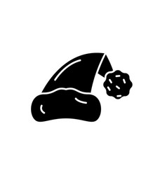 santa claus hat black icon sign on vector image