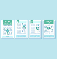 Saving planet brochure template layout vector
