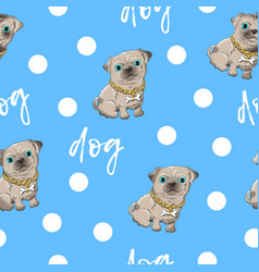 Seamless pattern kid s cute dog vector