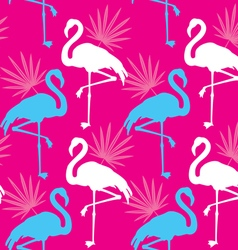 Seamless pink pattern with flamingo vector