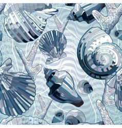 Seamless with sea shell vector image